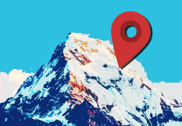 montagne et repère google maps