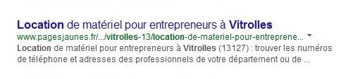 title dans les résultats de recherche google