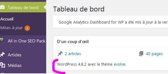 capture écran wordPress