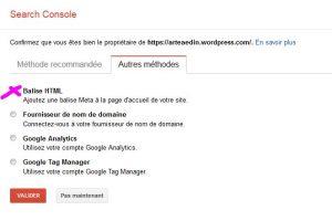capture écran de google search console
