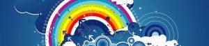 dessin vectoriel ronds et arc en ciel
