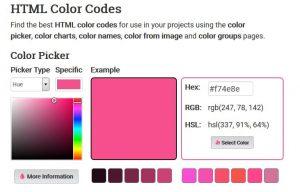 capture écran harmonie de couleur site html color