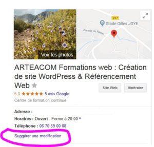 Fiche Google My Business Arteacom