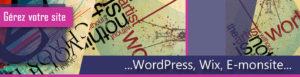 bandeau gestion de site wordpress, wix, e-monsite