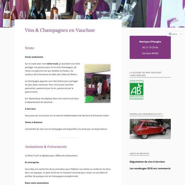 thème page accueil site monique d'hoore wine for you