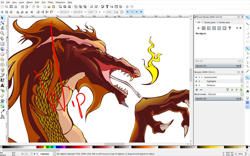 inkscape- capture ecran-dragon