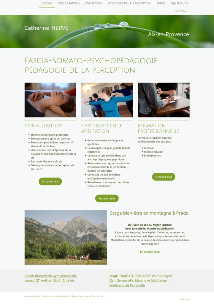 Capture écran site web Gestion du stress, accompagnement psycho-corporel