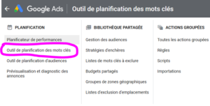 google ads-outils-mot-cle