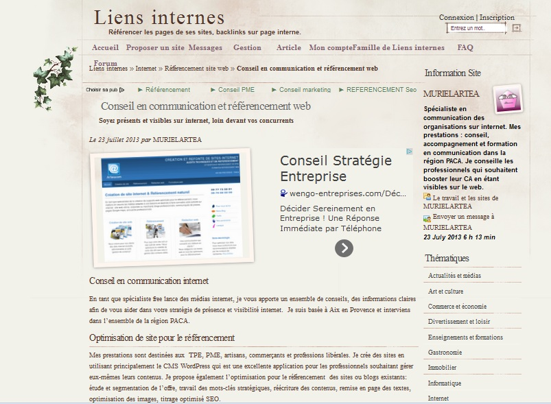 annuaire liens internes