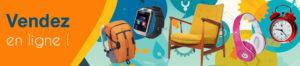 bandeau web vendez en ligne avec divers produits