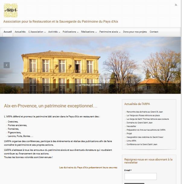Site de l'ARPA Aix. Création du site avec design responsive. Formation de l'animatrice du site au Webmastering et à la rédaction SEO.