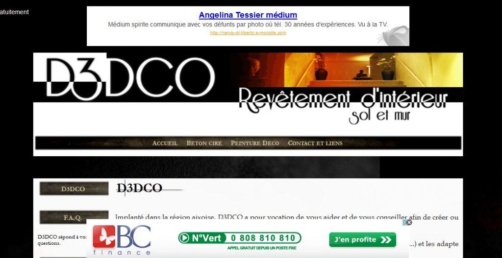Site D3DECO avant sa refonte